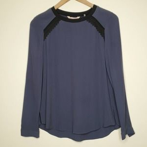 Rebecca Taylor Lace Trim Navy Blue Sheer Blouse
